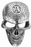 Alchemy Gothic Omega Skull Belt Buckle with display stand. Code WK8